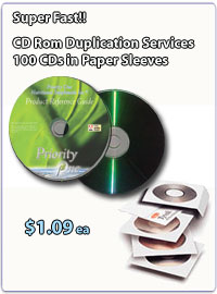 CD Duplication 100 CDs in paper sleeves $1.09 each!